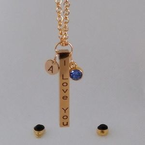 Custom Bar necklace + Birthstone + Initial pendant